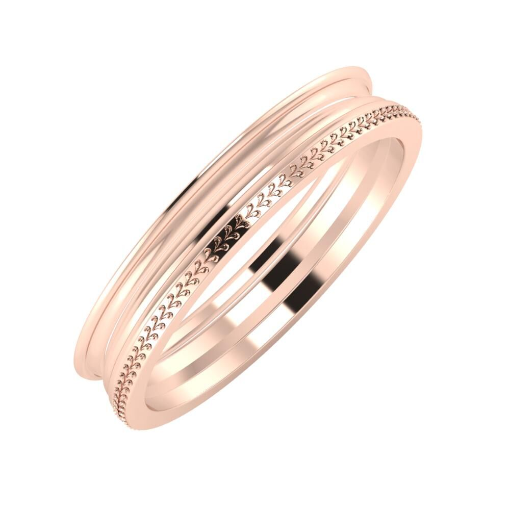 Agrippína - Aida - Aglája 4mm 14 karátos rosé arany karikagyűrű