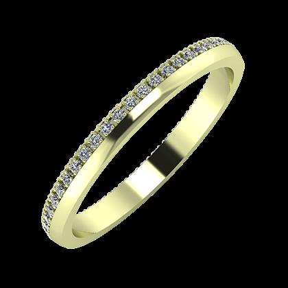 Alojzia 2mm 14 karátos zöld arany karikagyűrű
