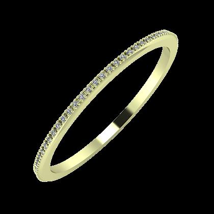 Alóma 1mm 14 karátos zöld arany karikagyűrű
