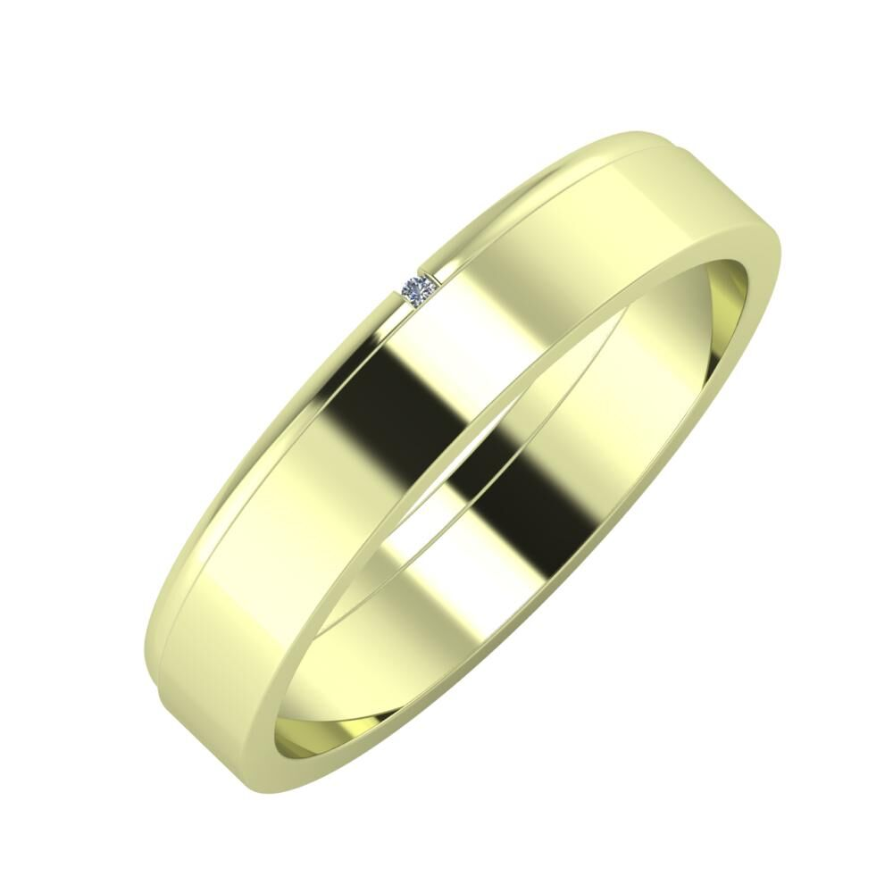 Adalind - Adela 4mm 14 karátos zöld arany karikagyűrű