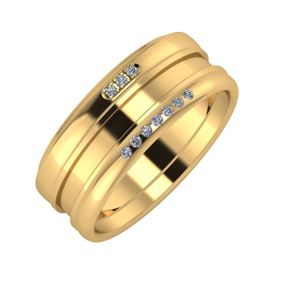 Aleszja - Ajnácska - Albertina 8mm 22 karátos sárga arany karikagyűrű