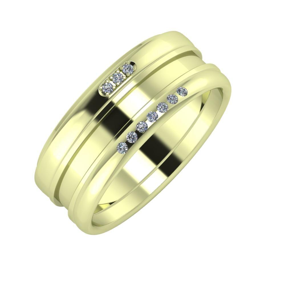 Aleszja - Ajnácska - Albertina 8mm 14 karátos zöld arany karikagyűrű