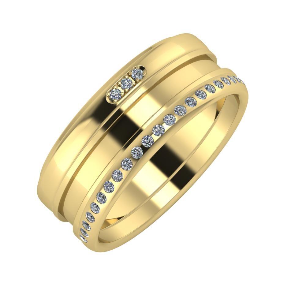 Aleszja - Ajnácska - Aldea 8mm 14 karátos sárga arany karikagyűrű