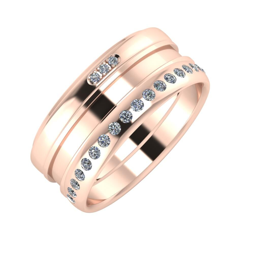 Aleszja - Ajnácska - Aldea 9mm 14 karátos rosé arany karikagyűrű