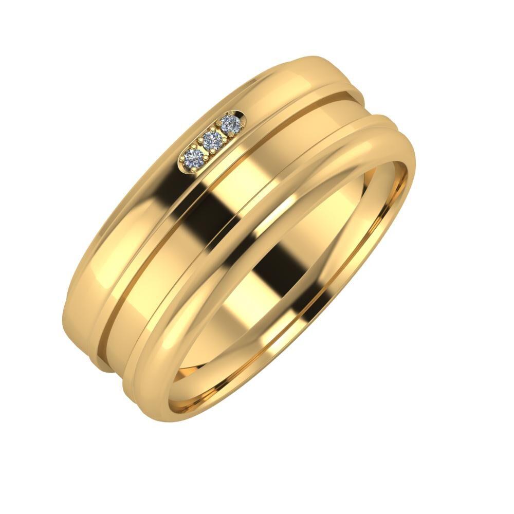 Aleszja - Ajnácska - Alett 8mm 18 karátos sárga arany karikagyűrű