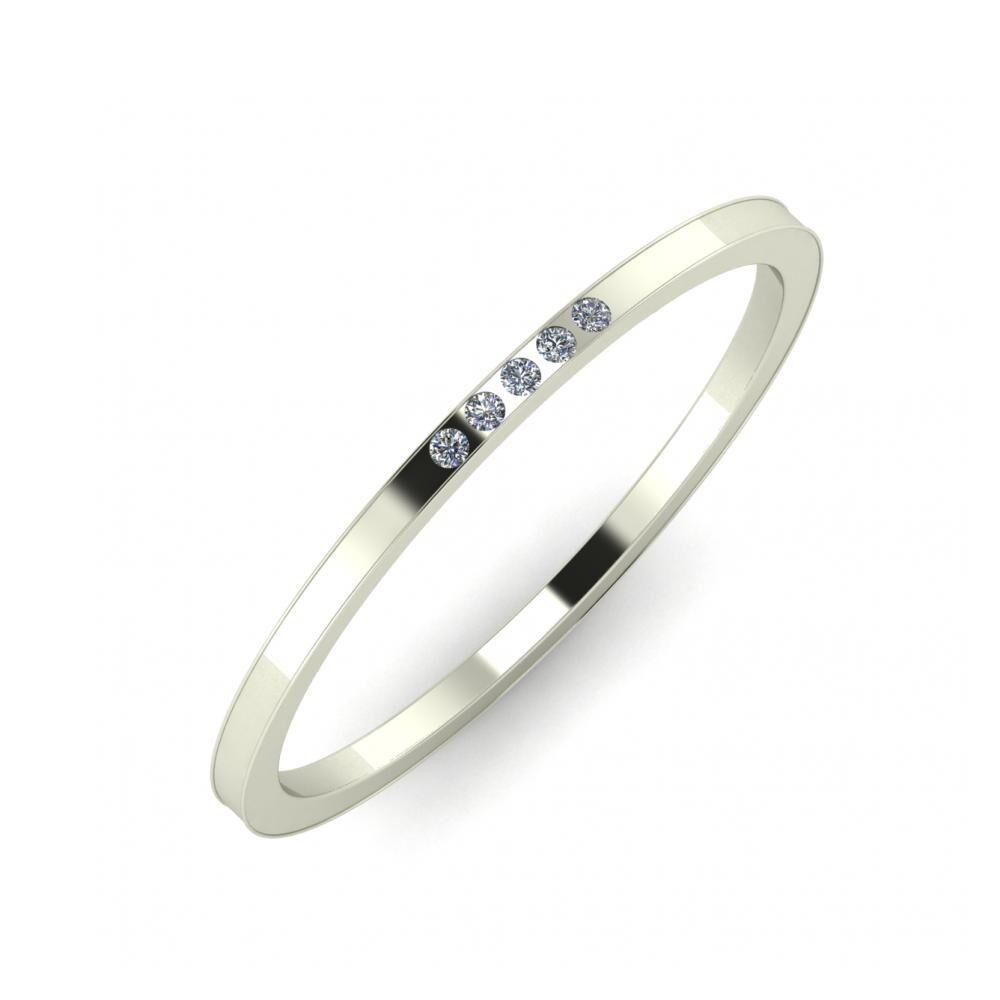 Aleszja - Ajra - Adelaida 5mm 14 karátos fehér arany karikagyűrű