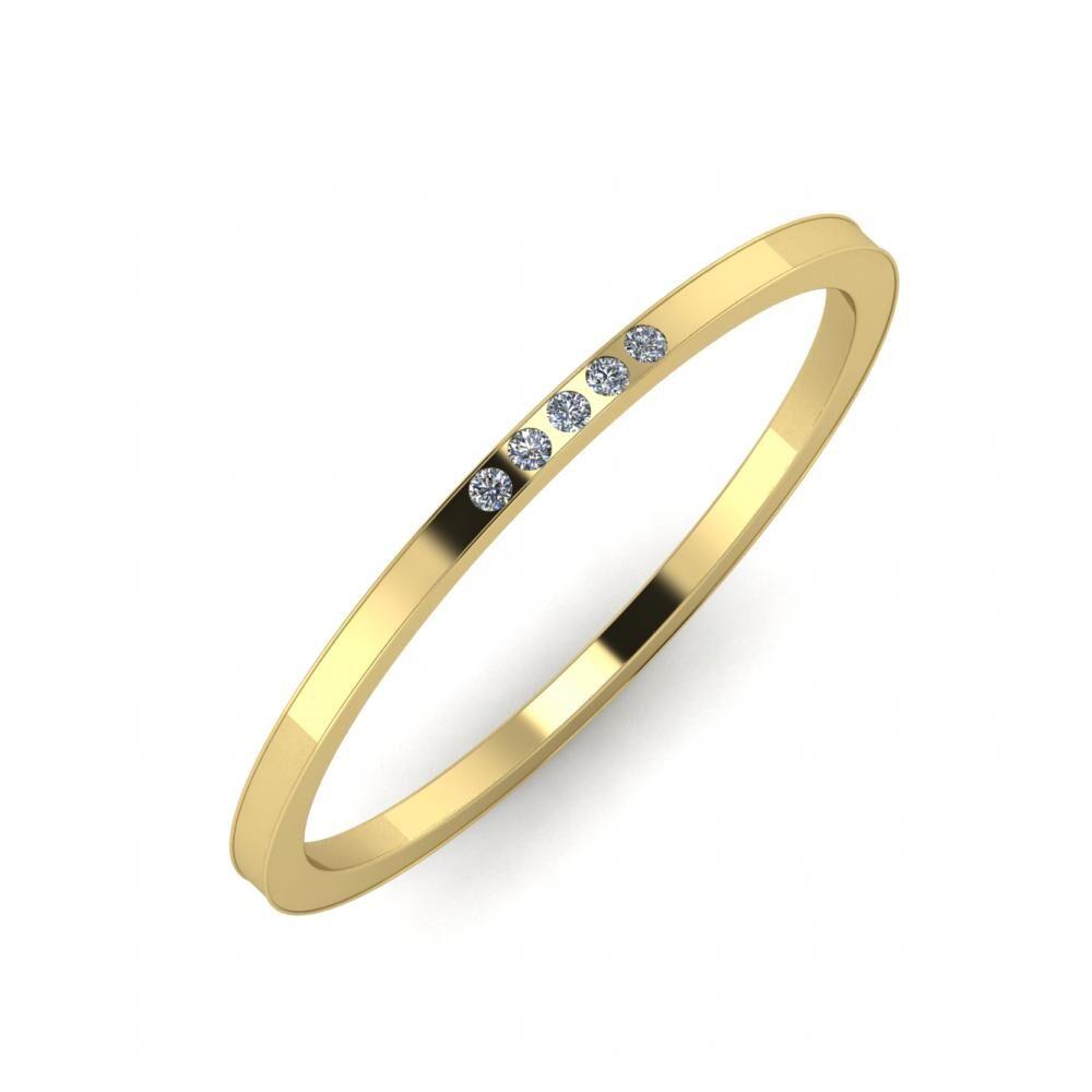 Aleszja - Ajra - Adelaida 5mm 14 karátos sárga arany karikagyűrű