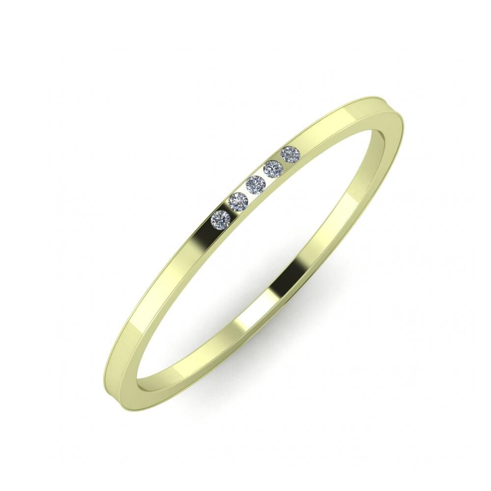 Aleszja - Ajra - Adelaida 5mm 14 karátos zöld arany karikagyűrű