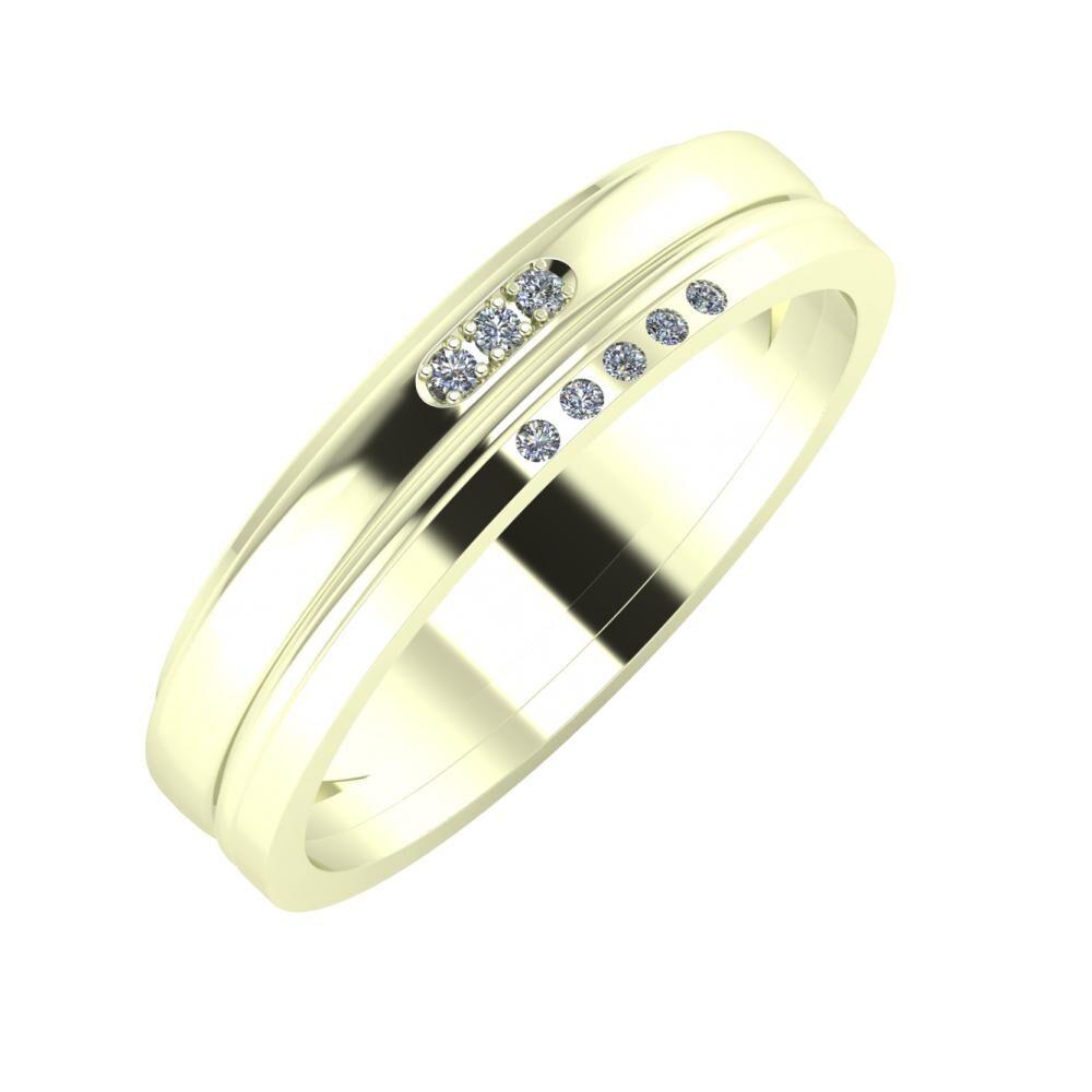 Aleszja - Ajra - Adelgunda 5mm 22 karátos fehér arany karikagyűrű