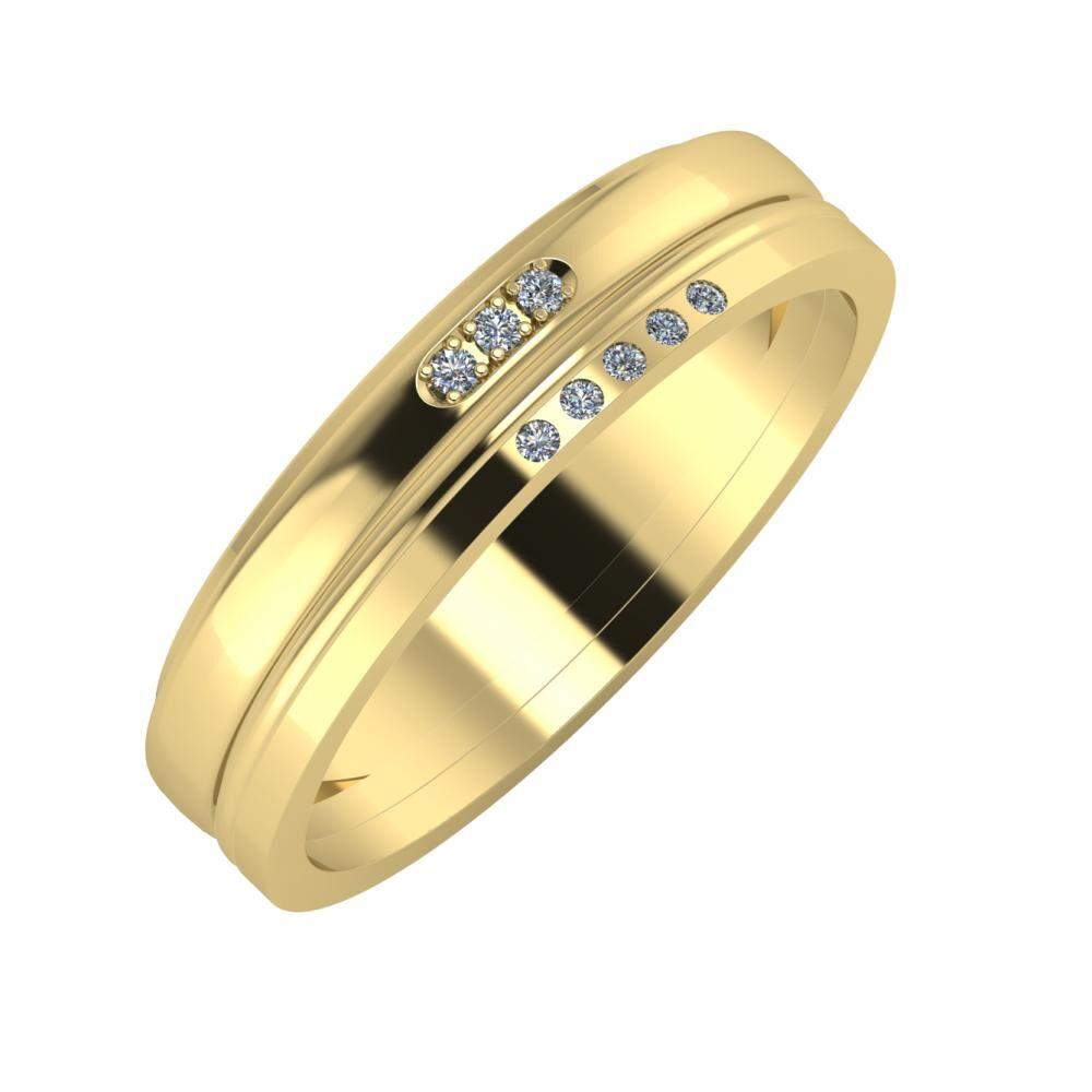 Aleszja - Ajra - Adelgunda 5mm 14 karátos sárga arany karikagyűrű