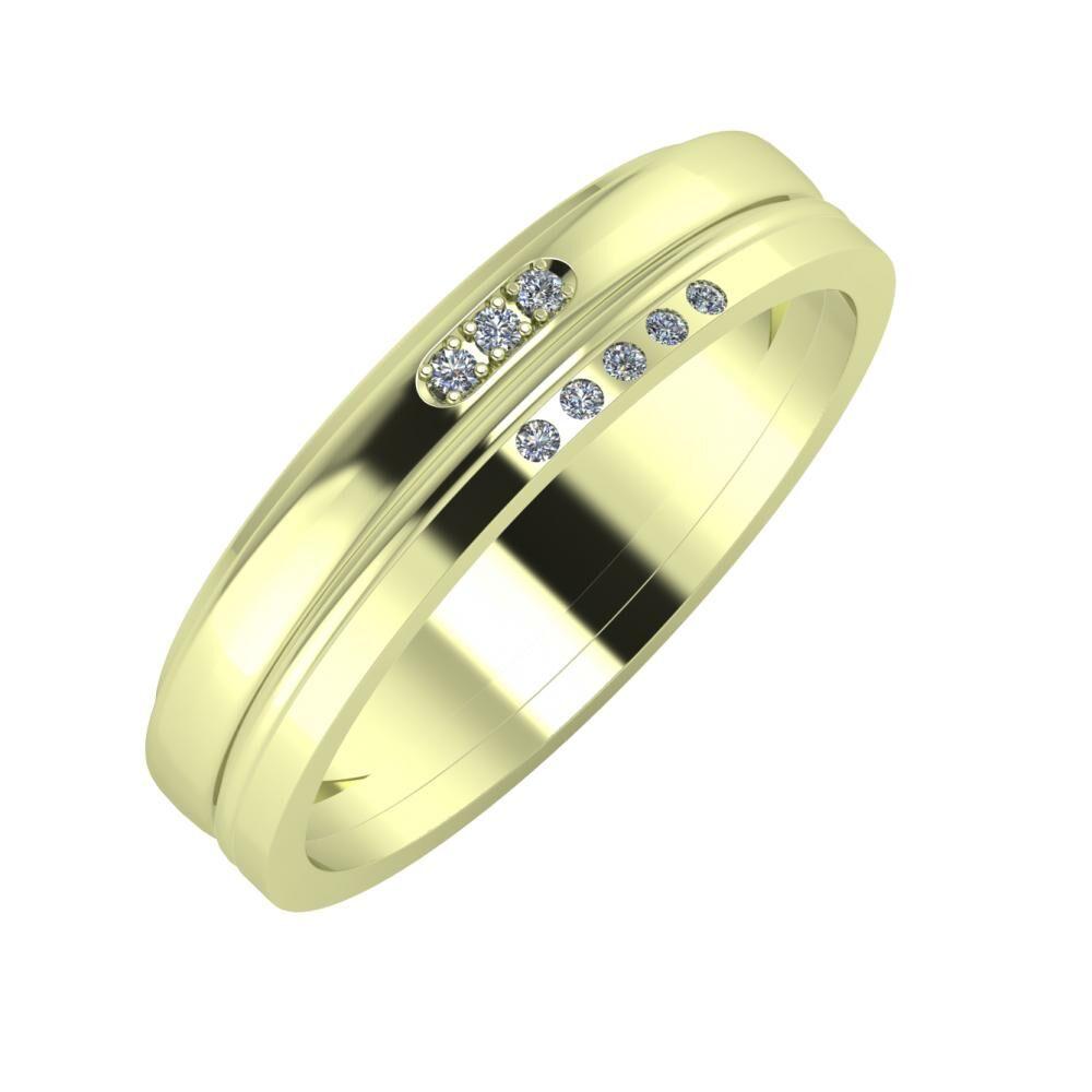 Aleszja - Ajra - Adelgunda 5mm 14 karátos zöld arany karikagyűrű