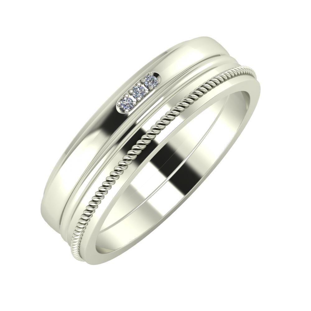Aleszja - Ajra - Afrodité 6mm 14 karátos fehér arany karikagyűrű