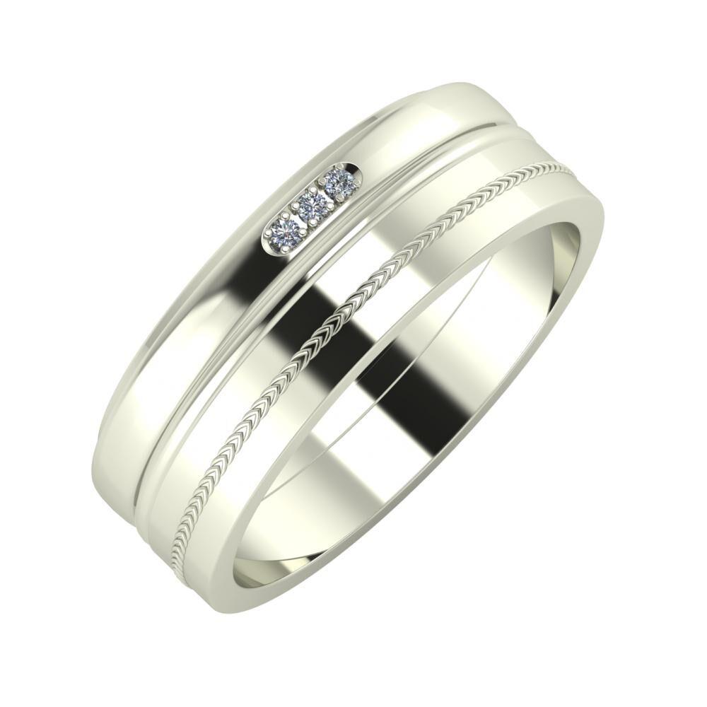 Aleszja - Ajra - Agáta 7mm 14 karátos fehér arany karikagyűrű