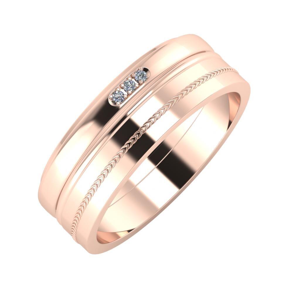 Aleszja - Ajra - Agáta 7mm 14 karátos rosé arany karikagyűrű