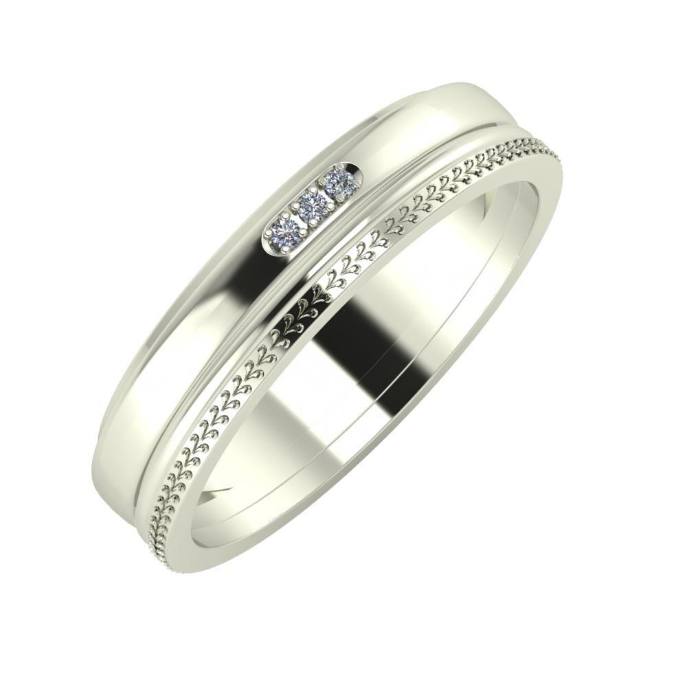 Aleszja - Ajra - Aglája 5mm 14 karátos fehér arany karikagyűrű