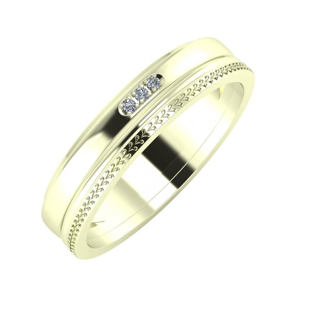 Aleszja - Ajra - Aglája 5mm 22 karátos fehér arany karikagyűrű