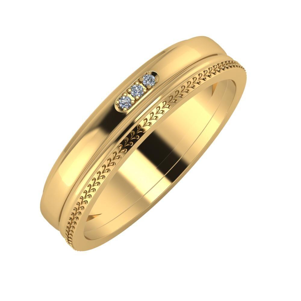 Aleszja - Ajra - Aglája 5mm 22 karátos sárga arany karikagyűrű