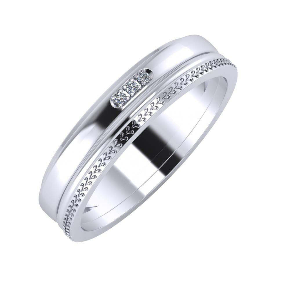 Aleszja - Ajra - Aglája 5mm platina karikagyűrű