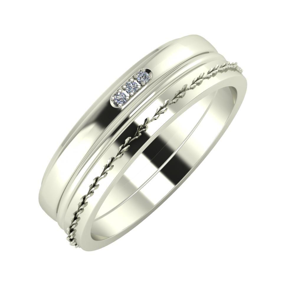 Aleszja - Ajra - Aglent 6mm 14 karátos fehér arany karikagyűrű