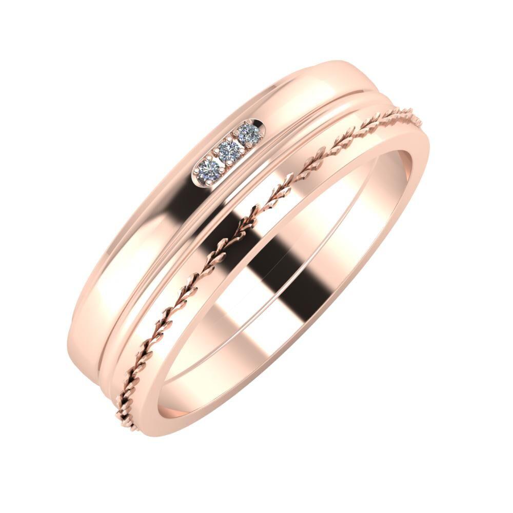 Aleszja - Ajra - Aglent 6mm 14 karátos rosé arany karikagyűrű
