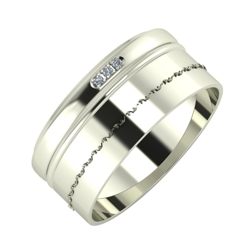 Aleszja - Ajra - Agnabella 9mm 14 karátos fehér arany karikagyűrű