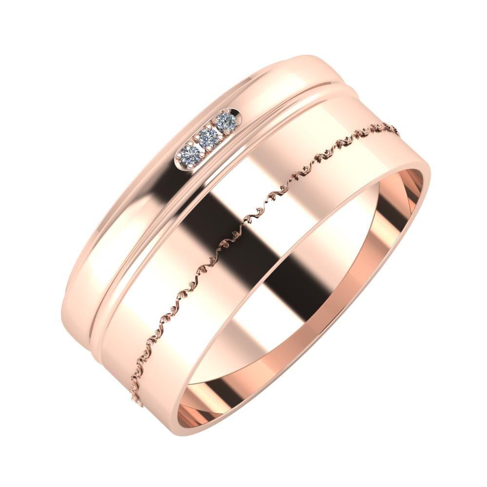 Aleszja - Ajra - Agnabella 9mm 14 karátos rosé arany karikagyűrű