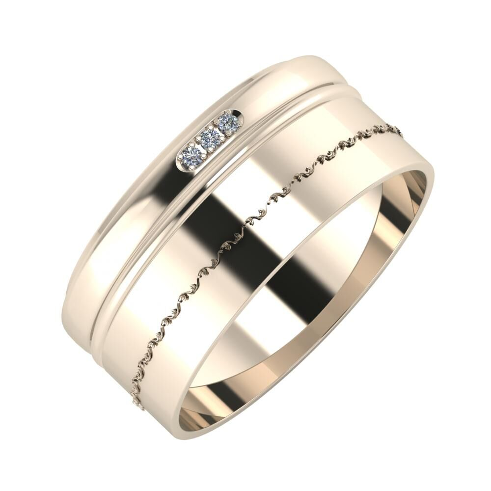 Aleszja - Ajra - Agnabella 9mm 22 karátos rosé arany karikagyűrű