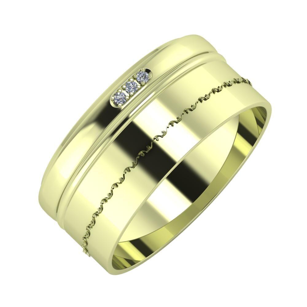 Aleszja - Ajra - Agnabella 9mm 14 karátos zöld arany karikagyűrű