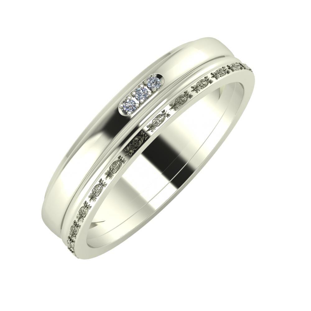 Aleszja - Ajra - Agnella 5mm 18 karátos fehér arany karikagyűrű
