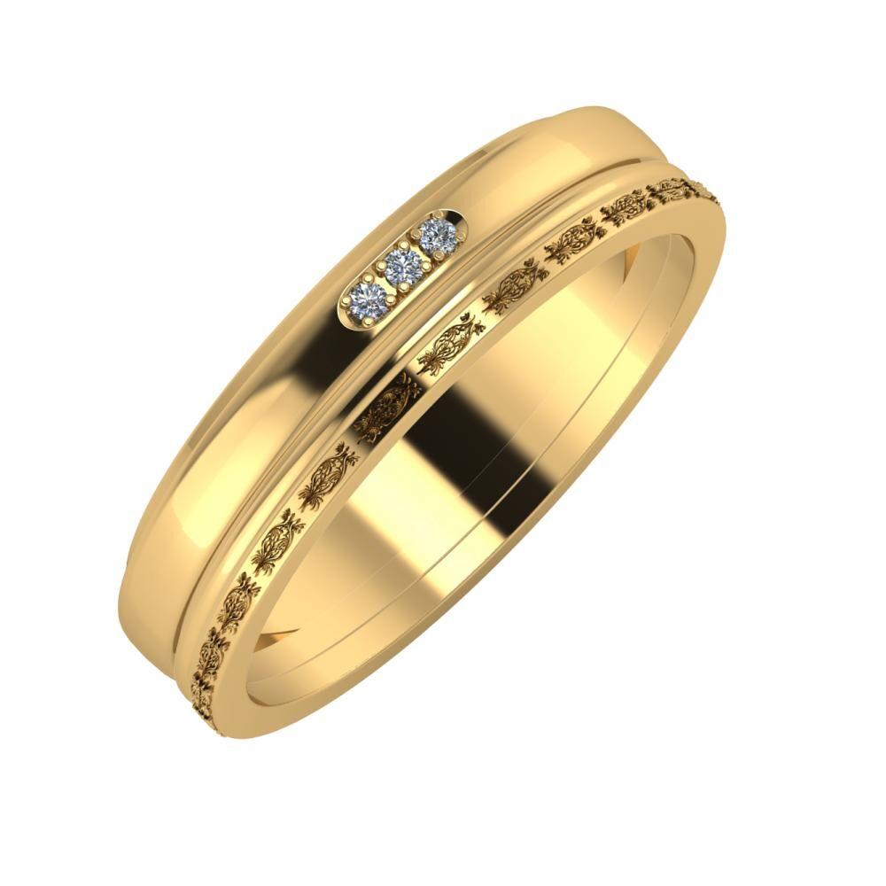 Aleszja - Ajra - Agnella 5mm 22 karátos sárga arany karikagyűrű