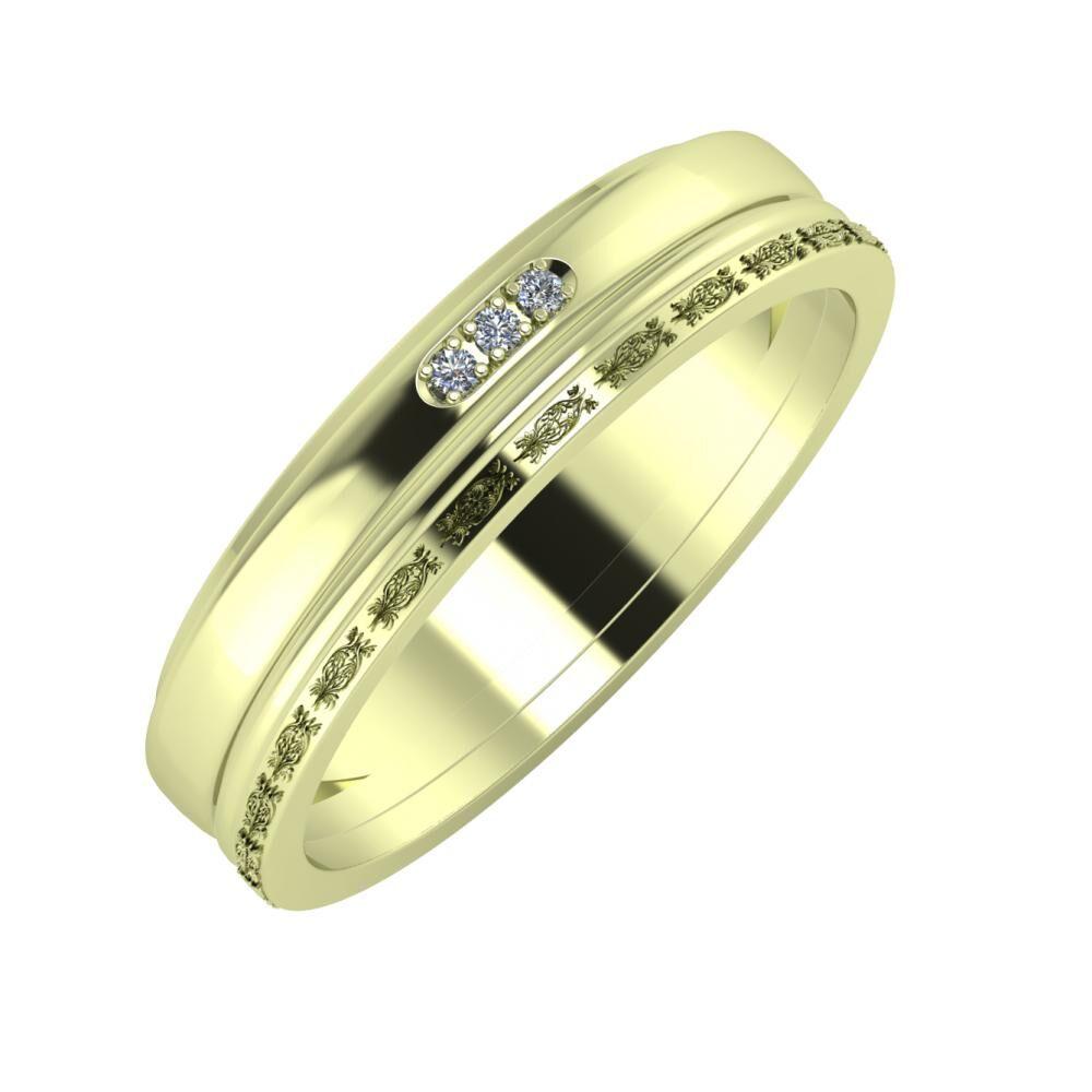 Aleszja - Ajra - Agnella 5mm 14 karátos zöld arany karikagyűrű