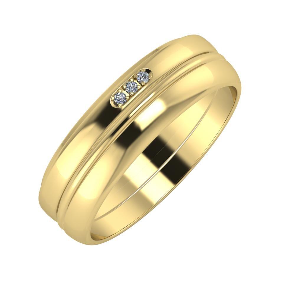 Aleszja - Ajra - Ágosta 6mm 14 karátos sárga arany karikagyűrű