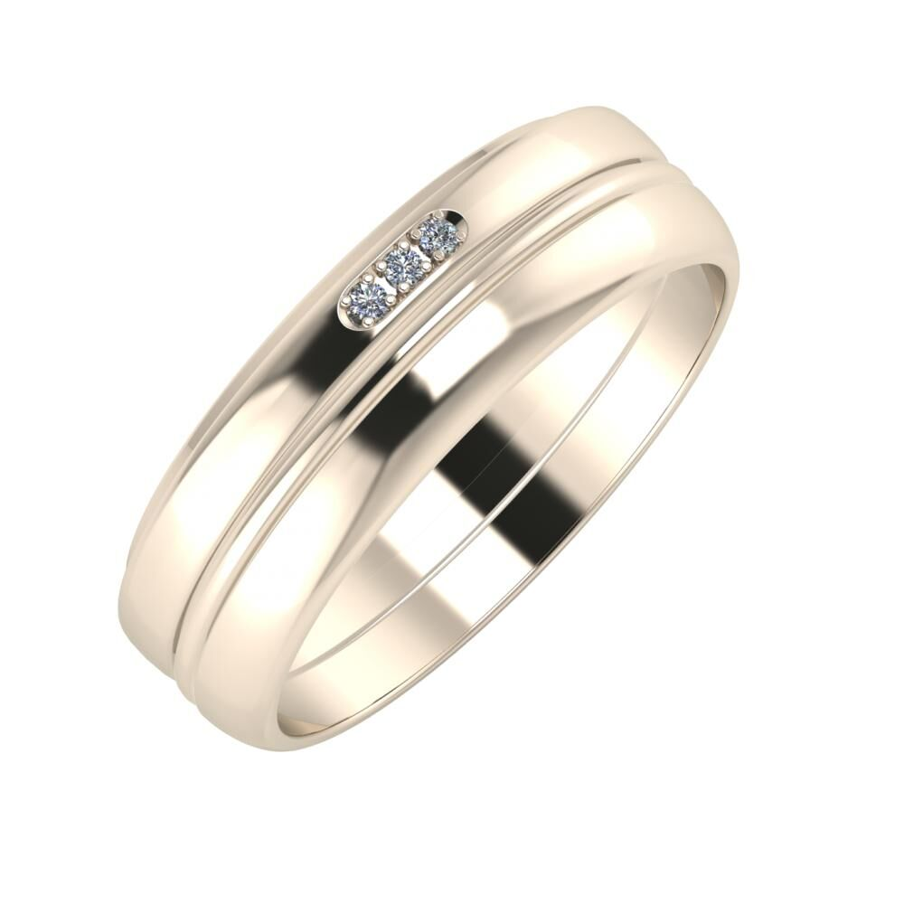 Aleszja - Ajra - Ágosta 6mm 22 karátos rosé arany karikagyűrű