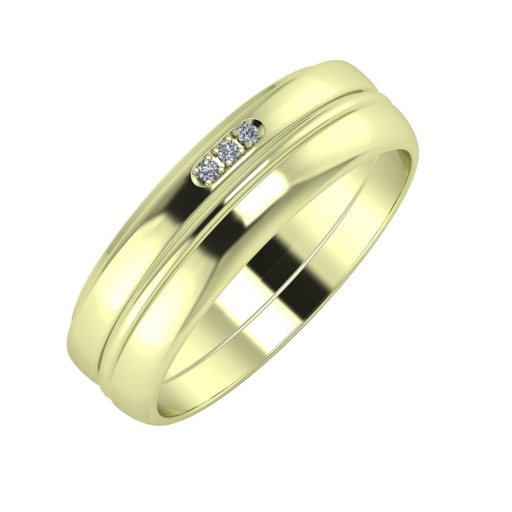 Aleszja - Ajra - Ágosta 6mm 14 karátos zöld arany karikagyűrű