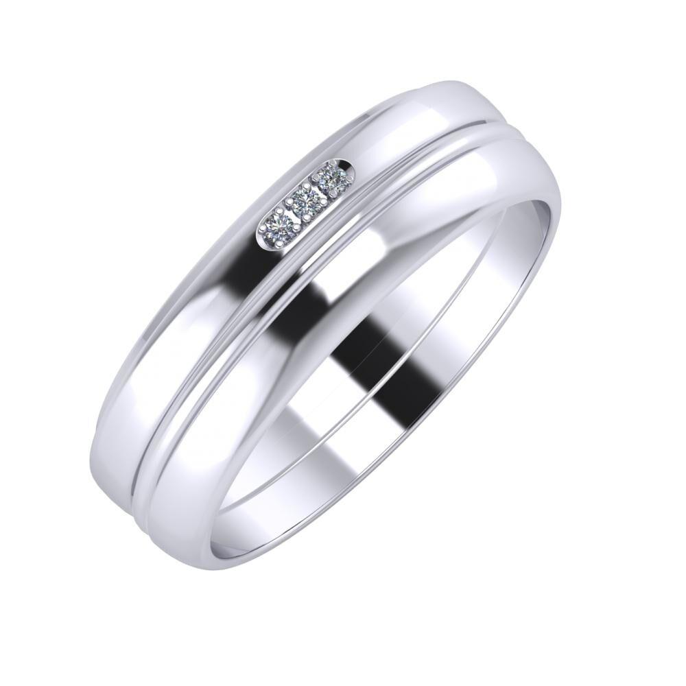 Aleszja - Ajra - Ágosta 6mm platina karikagyűrű