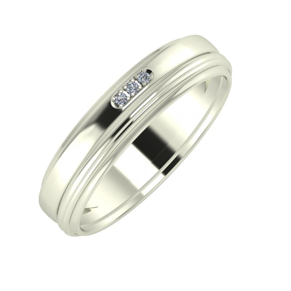 Aleszja - Ajra - Agrippína 5mm 18 karátos fehér arany karikagyűrű