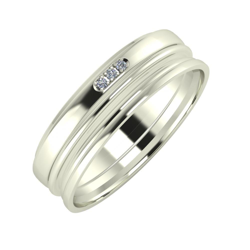 Aleszja - Ajra - Aida 6mm 18 karátos fehér arany karikagyűrű