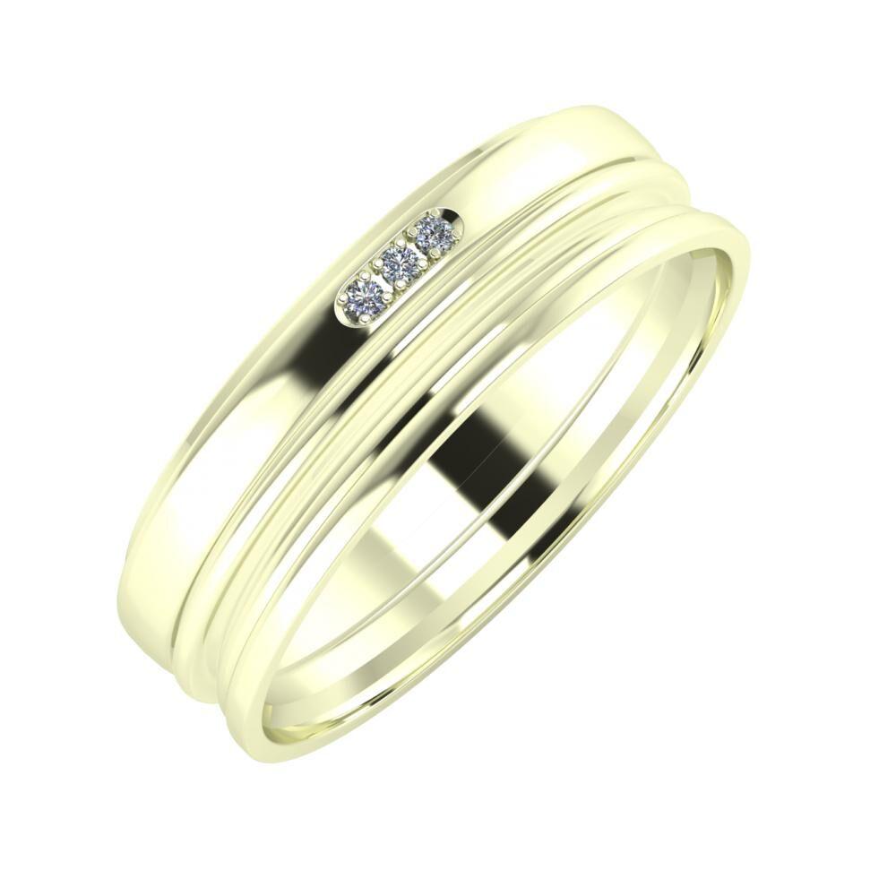 Aleszja - Ajra - Aida 6mm 22 karátos fehér arany karikagyűrű