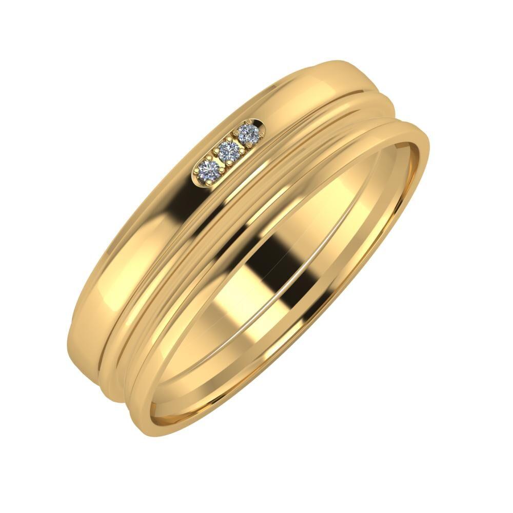 Aleszja - Ajra - Aida 6mm 18 karátos sárga arany karikagyűrű