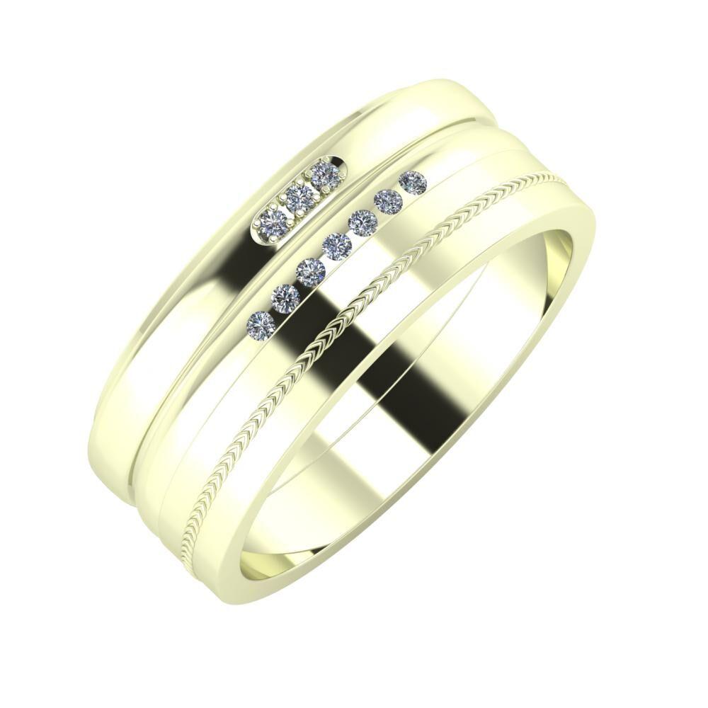 Aleszja - Albertina - Agáta 8mm 22 karátos fehér arany karikagyűrű