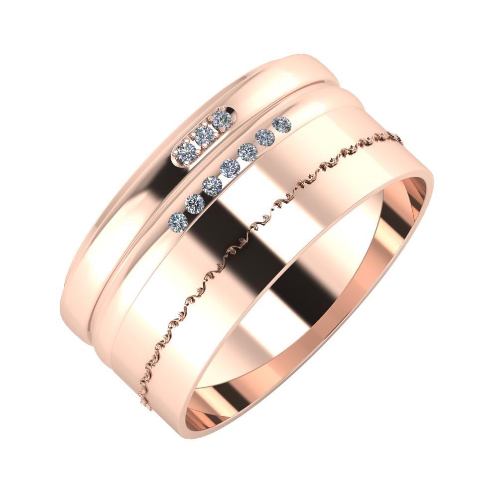 Aleszja - Albertina - Agnabella 10mm 18 karátos rosé arany karikagyűrű
