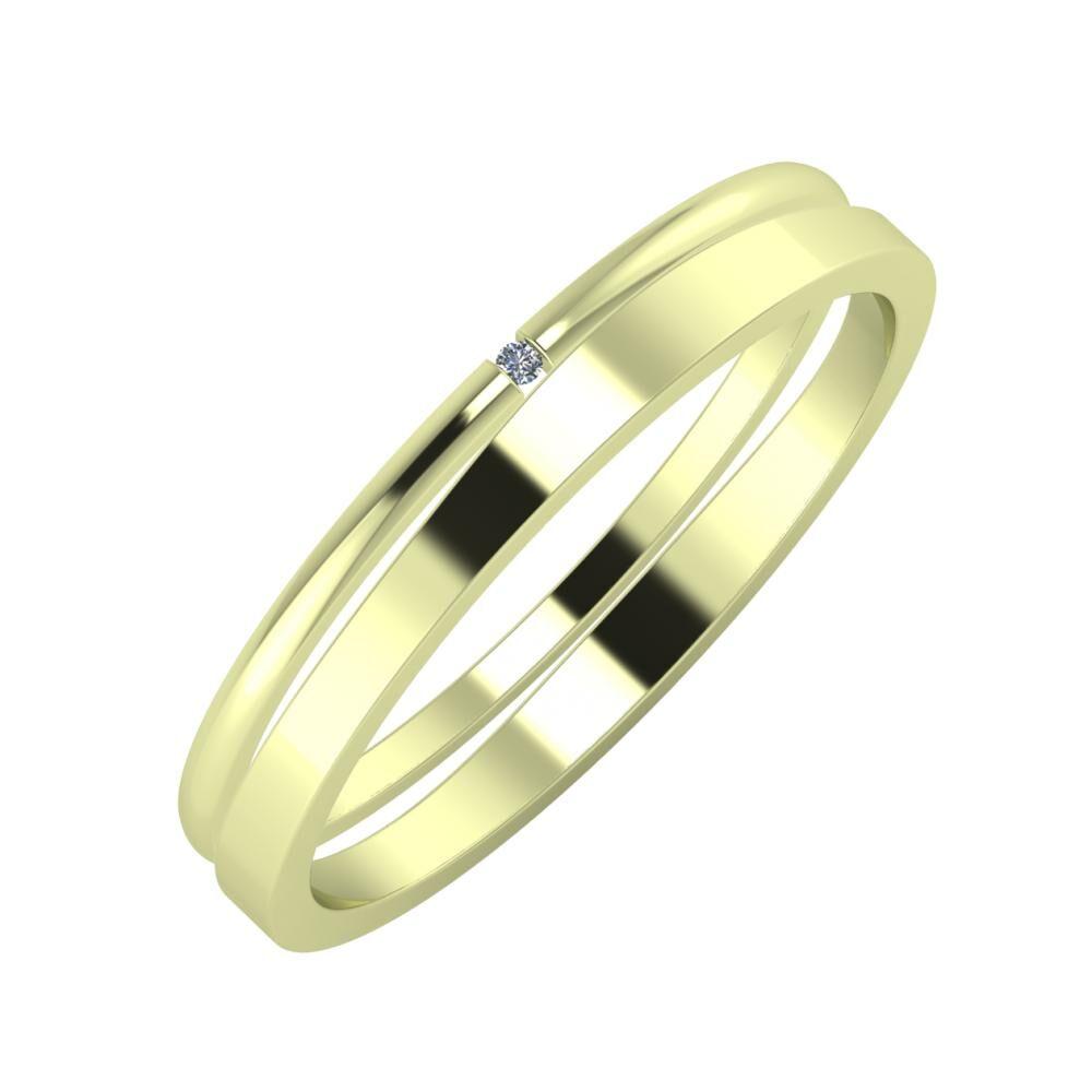 Adalind - Adria 3mm 14 karátos zöld arany karikagyűrű