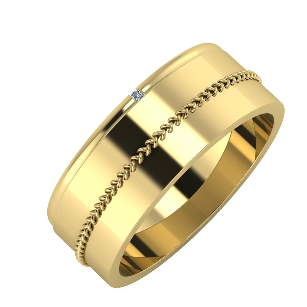 Adalind - Áfonya 7mm 14 karátos sárga arany karikagyűrű