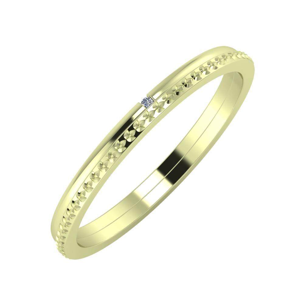 Adalind - Ági 2mm 14 karátos zöld arany karikagyűrű