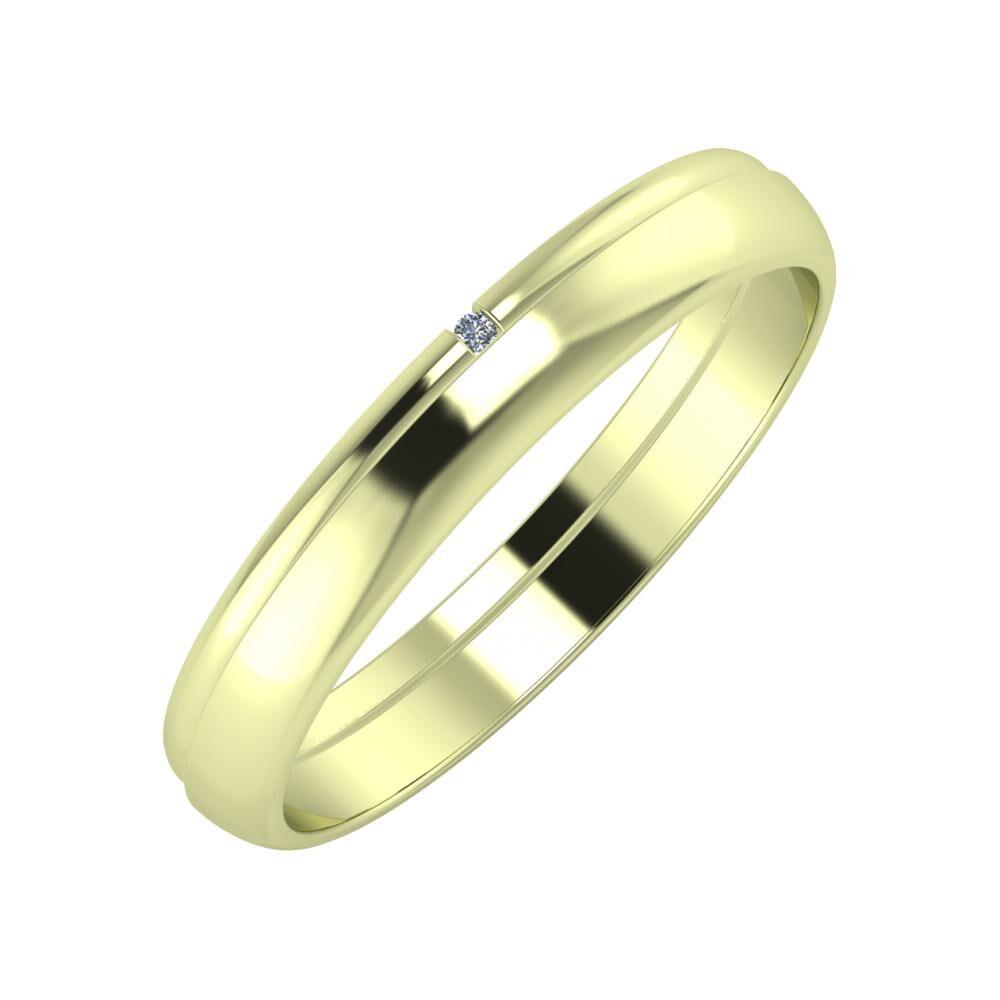 Adalind - Ágosta 3mm 14 karátos zöld arany karikagyűrű