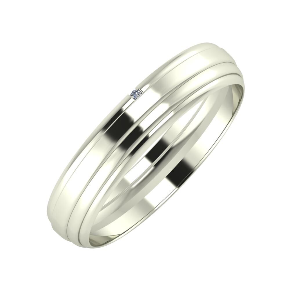 Adalind - Aina 4mm 14 karátos fehér arany karikagyűrű