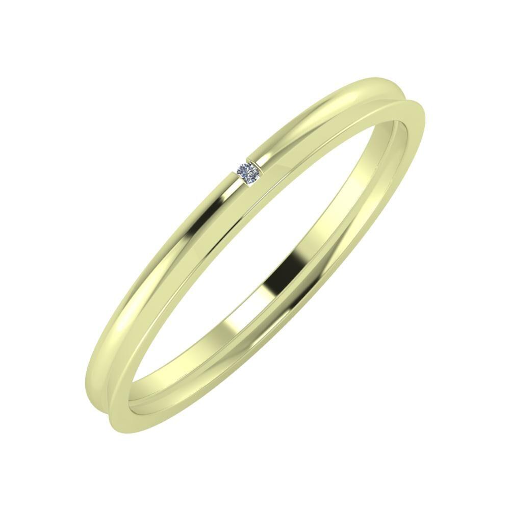 Adalind - Aisa 2mm 14 karátos zöld arany karikagyűrű