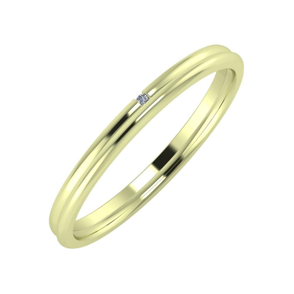 Adalind - Aletta 2mm 14 karátos zöld arany karikagyűrű