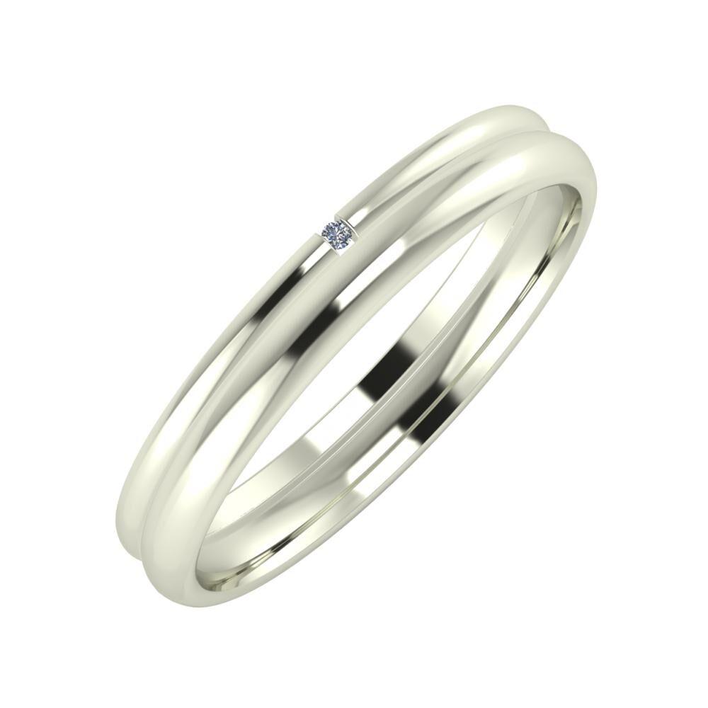 Adalind - Alexa 3mm 14 karátos fehér arany karikagyűrű