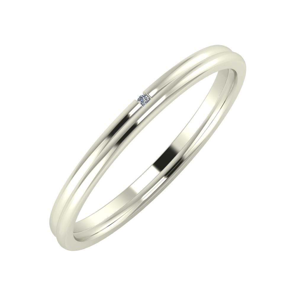 Adalind - Alexandra 2mm 14 karátos fehér arany karikagyűrű